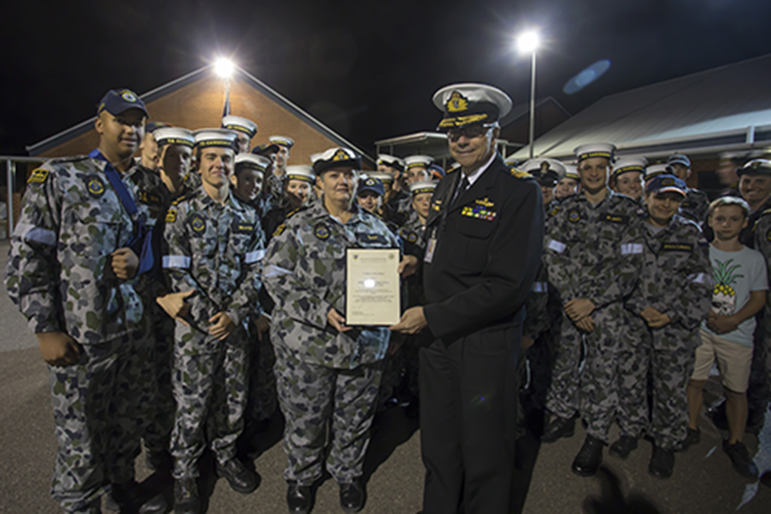A Certificate of Recognition was presented to the cadets of TS Canberra by Rear Admiral Bruce Kafer, Head Reserve and Youth Division and Commander ADF Cadets